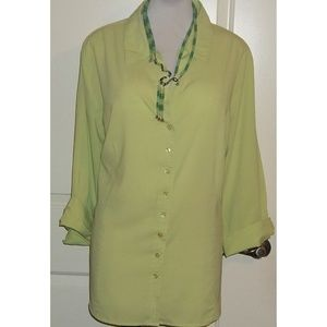 Lemon Lime buttoned silky rayon blend blouse EUC